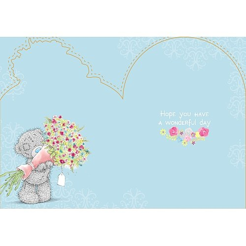 Bear with Bouquet by Gate - Birthday Card