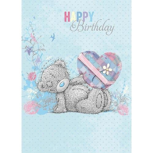 Bear with Heart shaped gift Birthday Card
