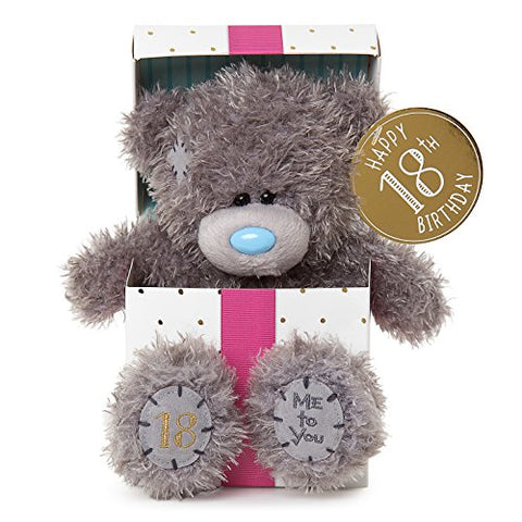 18th Birthday Teddy sitting in Gift Box - 7'' Bear