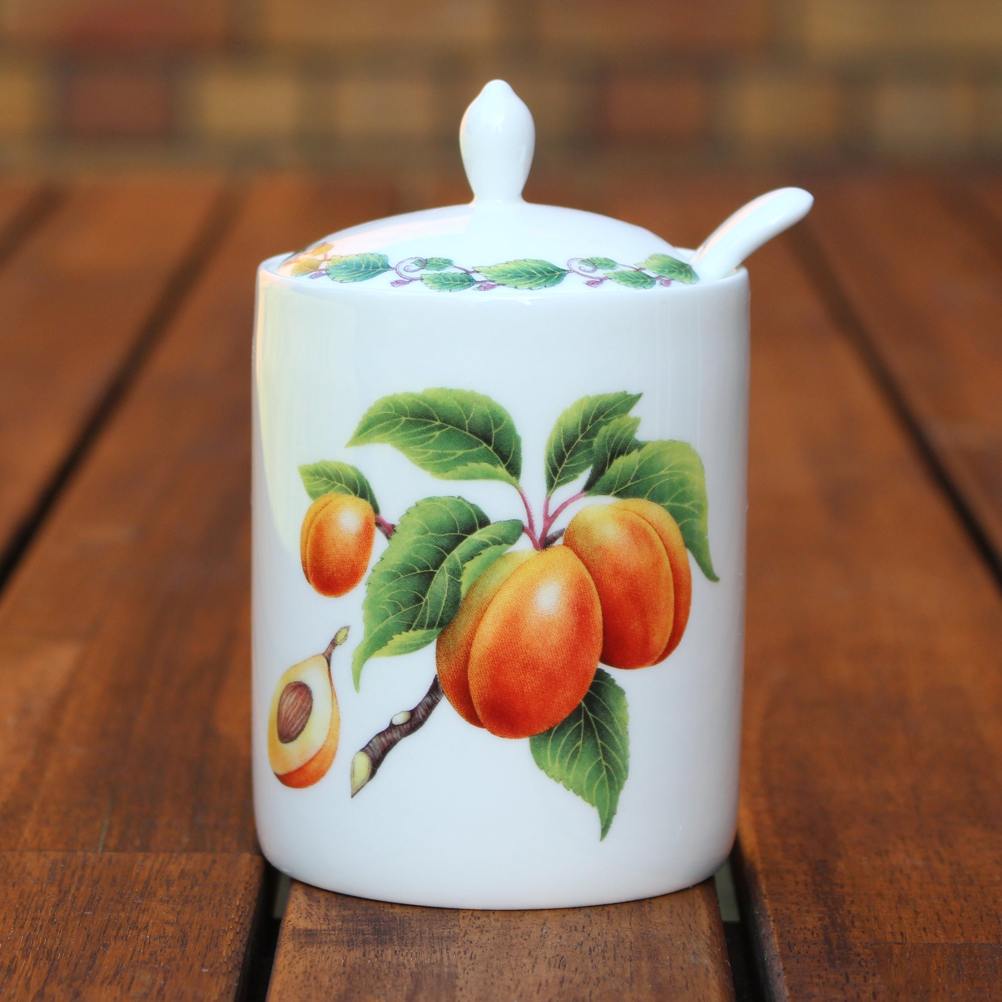 Modern Jam Pot and Spoon - Apricot