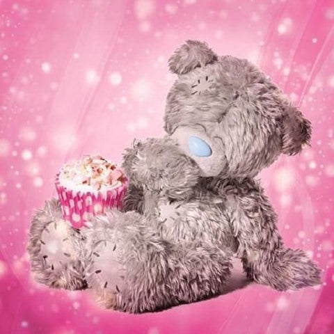 Bear with Cupcake Birthday Card (3D Holographic)