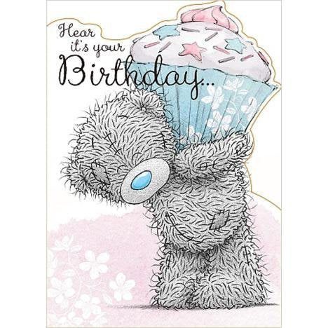 Bear carrying Large Cupcake - Birthday Card