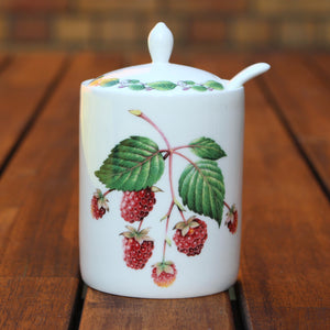 Modern Jam Pot and Spoon - Raspberry