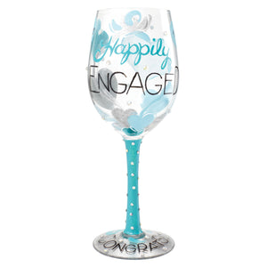 Happily Engaged Wine Glass