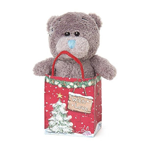 Teddy in Xmas 'With Love' Gift Bag - 3'' Bear