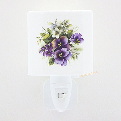 Night Light, Square face shaped - Summer Pansy Design