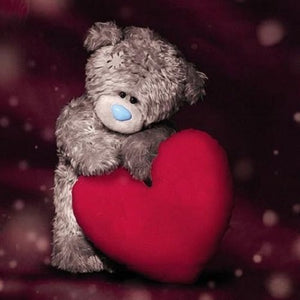 Bear by Large Red Heart With Love Greetings Card (3D Holographic)