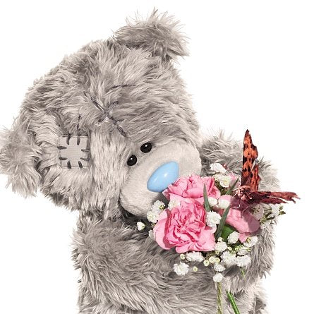 Bear with Bouquet and Butterfly Birthday Card (3D Holographic)