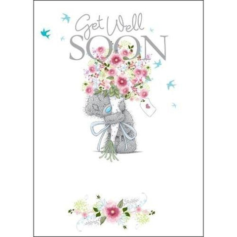 Bear with Bouquet of Flowers - Get Well Soon Card