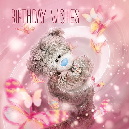 Bear with Butterflies Birthday Card (3D Holographic)
