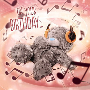 Bear with Headphones Birthday Card (3D Holographic)