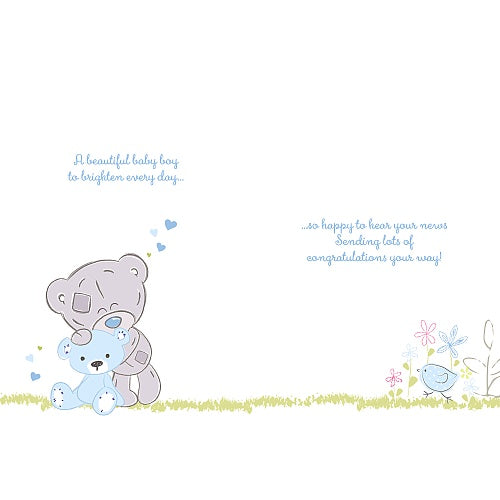 Bear with Toy Rabbit - Baby Girl Congratulations Card