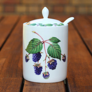 Modern Jam Pot and Spoon - Blackberry