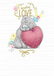 Bear leaning on Heart - Birthday Card