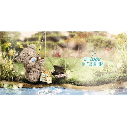 Bear Fishing Presents Birthday Card (3D Holographic)