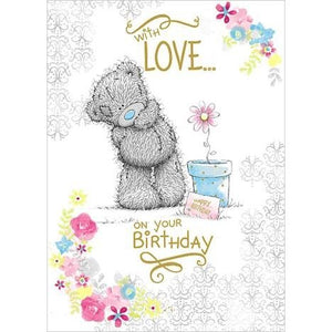 Bear with Flowerpot - Birthday Card