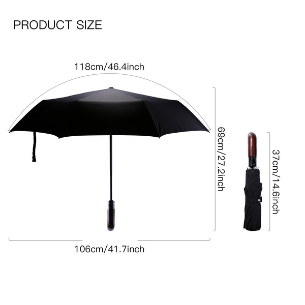 Umbrella Auto Folding Compact Travel Windproof Screen Auto Open & Close Designed Fancy Wooden Handle