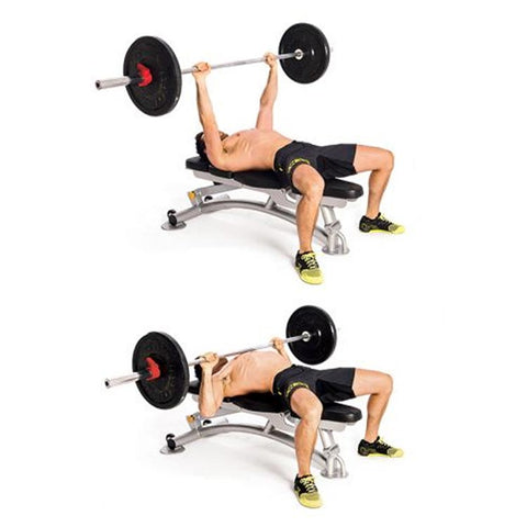 male performing barbell bench press