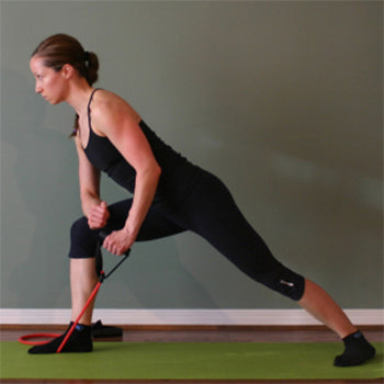 resistance band standing one arm row