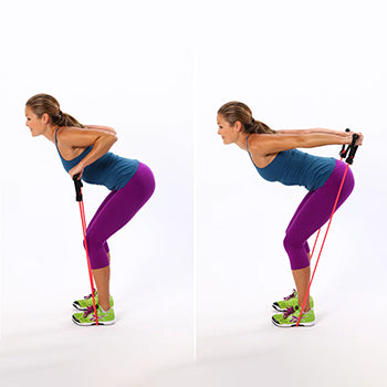 standing resistance band tricep kick back