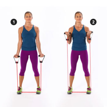 standing resistance band bicep curl
