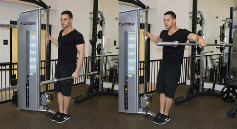 standing barbell lateral raises