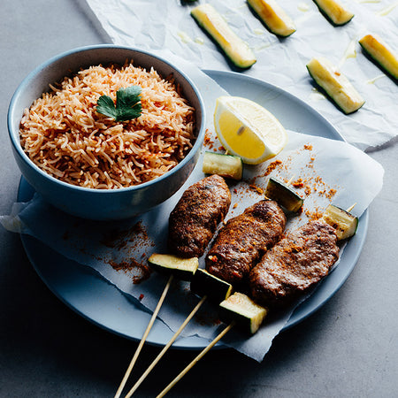 Spiced Kofta with Tomato Rice & Zucchini
