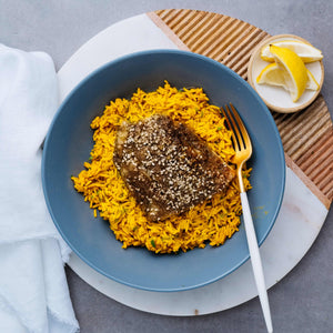 Steamed Fish with Turmeric Rice