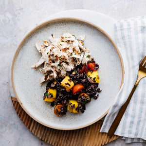 Black Rice Mango Salad with Poached Chicken