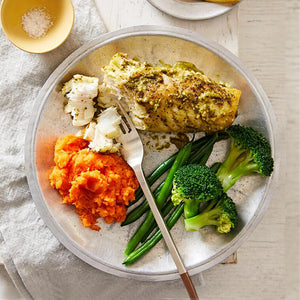 Lean Fish with Sweet Potato & Greens