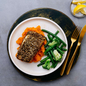 Middle Eastern Barramundi with Sweet Potato & Greens