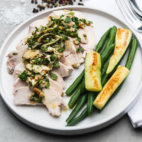 Almond & Feta Chicken with Zucchini & Beans