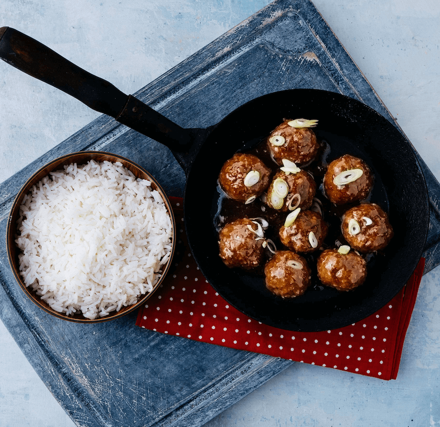 Sticky Asian Meatballs & Steamed Rice