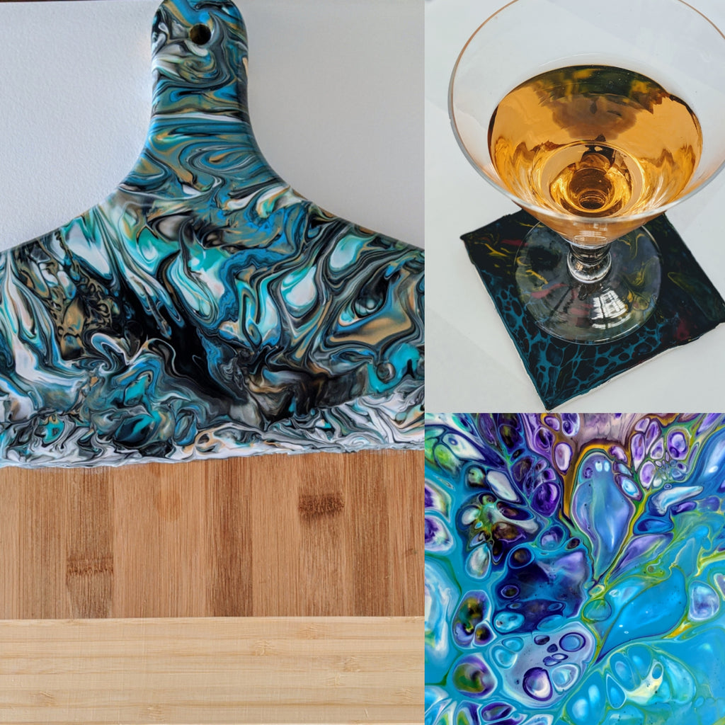 Postponed-Acrylic Pour Paint Class at Market 640 May 14- Spring Wine Edition - Art by Autumn M.