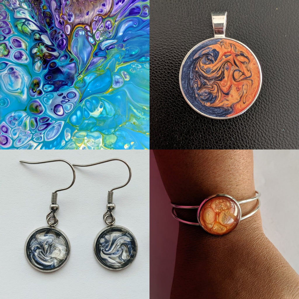 Postponed-Sold Out- Lets Make Jewelry! Acrylic Pour Paint Class at Wyoming Community Coffee March 20 - Art by Autumn M.
