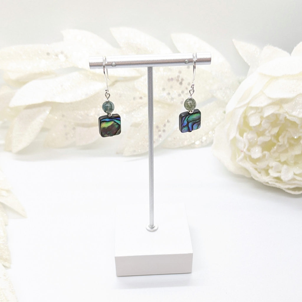 Abalone and Green Moss Agate with KHT Silver Earrings - Art by Autumn M.Earrings