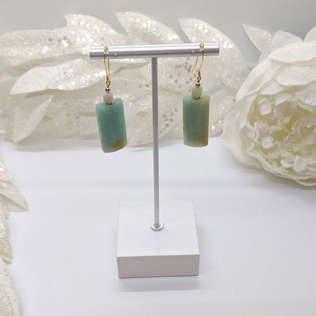Amazonite and Gold Earrings - Art by Autumn M.Earrings