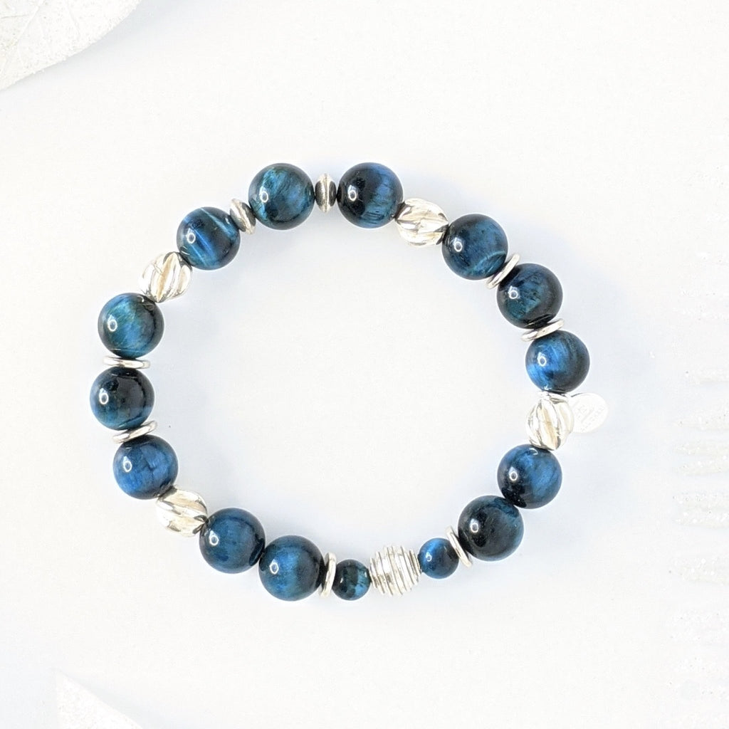 Blue Tiger Eye and KHT Silver Stress Release Bracelet - Art by Autumn M.