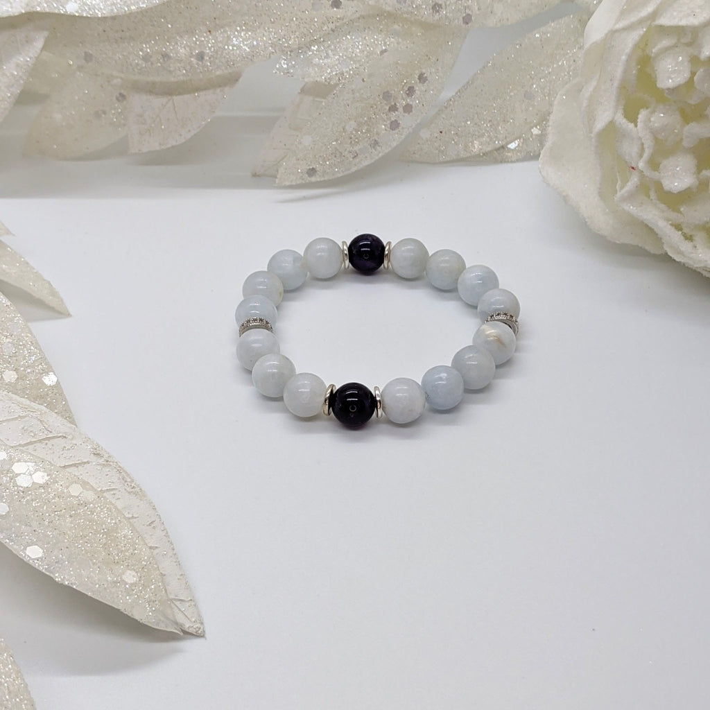 Celestite, Amethyst, and Sterling Silver Clearing Bracelet - Art by Autumn M.Bracelet