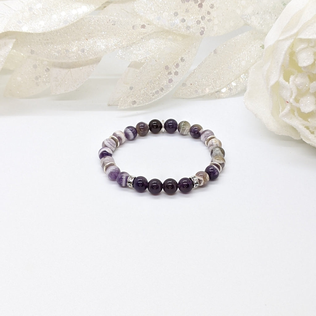 Chevron Amethyst and Sterling Silver Peace Bracelet - Art by Autumn M.Bracelet