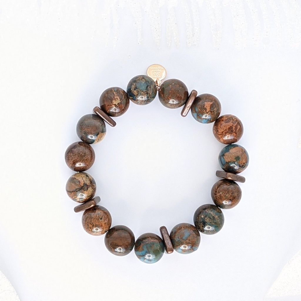 Dark Snake Jasper and Copper 12mm Guard Bracelet - Art by Autumn M.Bracelet