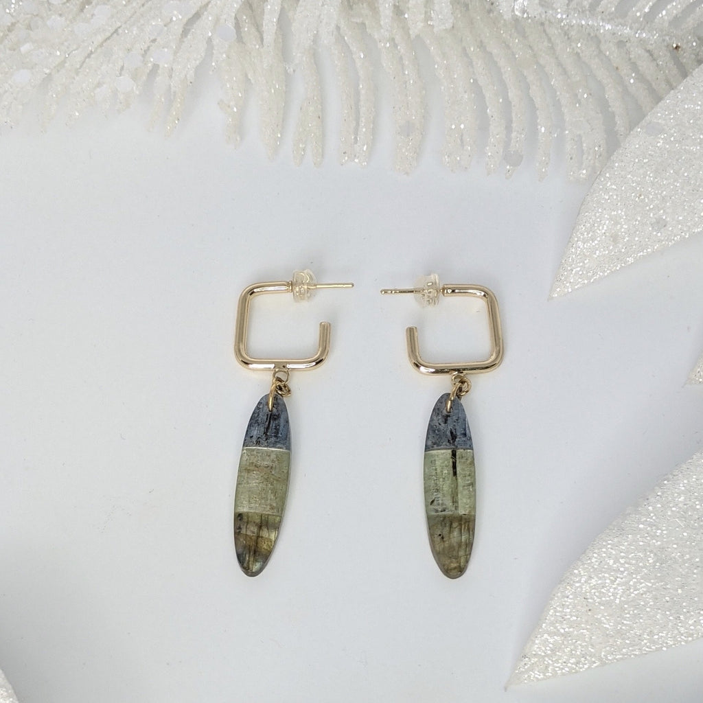 Gold Filled Square Hoops with Blue & Green Kyanite and Labradorite Earrings - Art by Autumn M.Earrings
