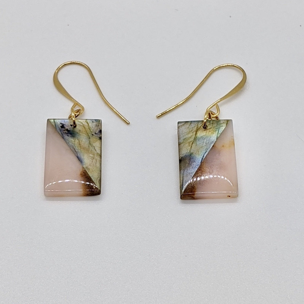 Gold Labradorite and Pink Opal Earrings - Art by Autumn M.Earrings