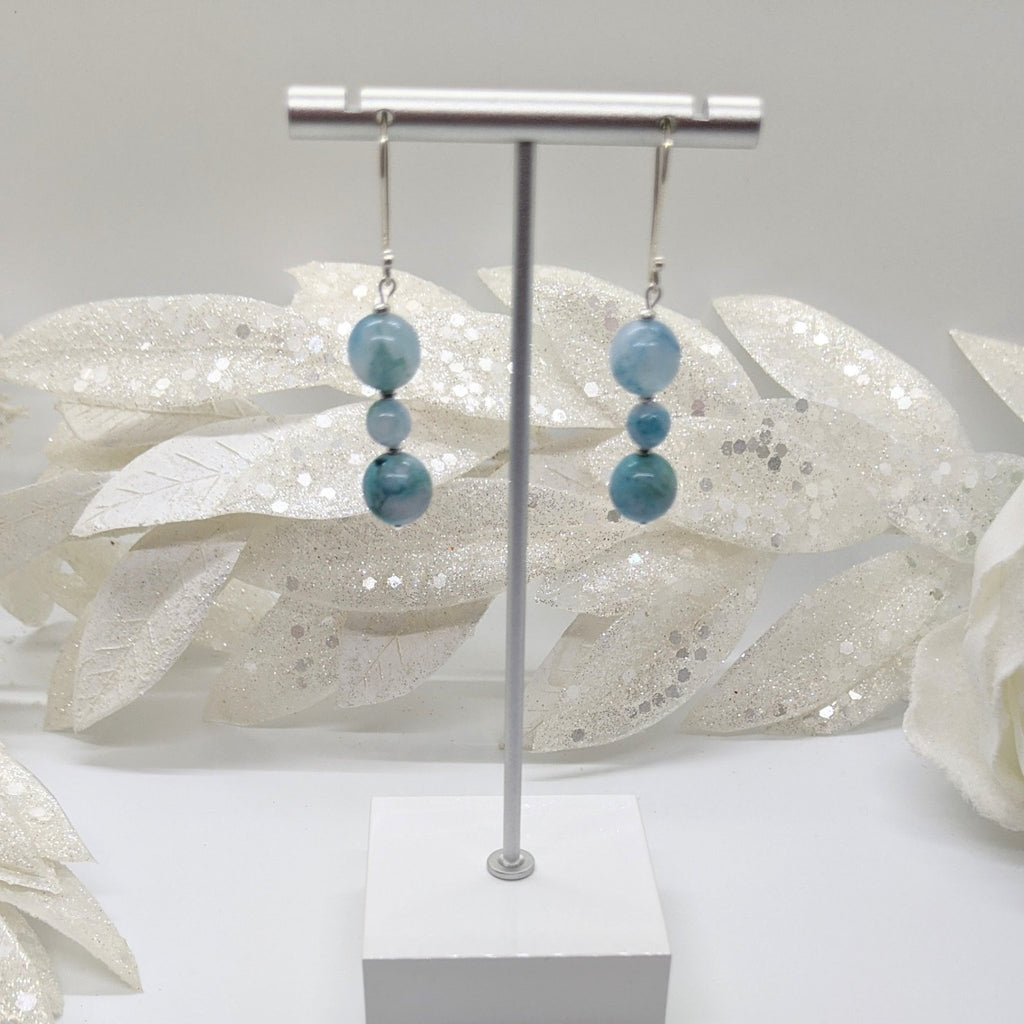 Hemimorphite with KHT Silver Earrings - Art by Autumn M.Earrings