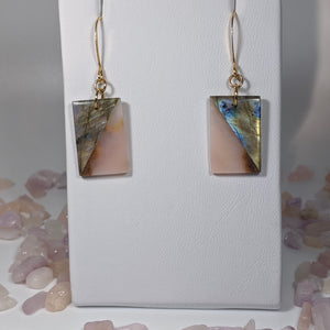 Gold Labradorite and Pink Opal Earrings - Art by Autumn M.