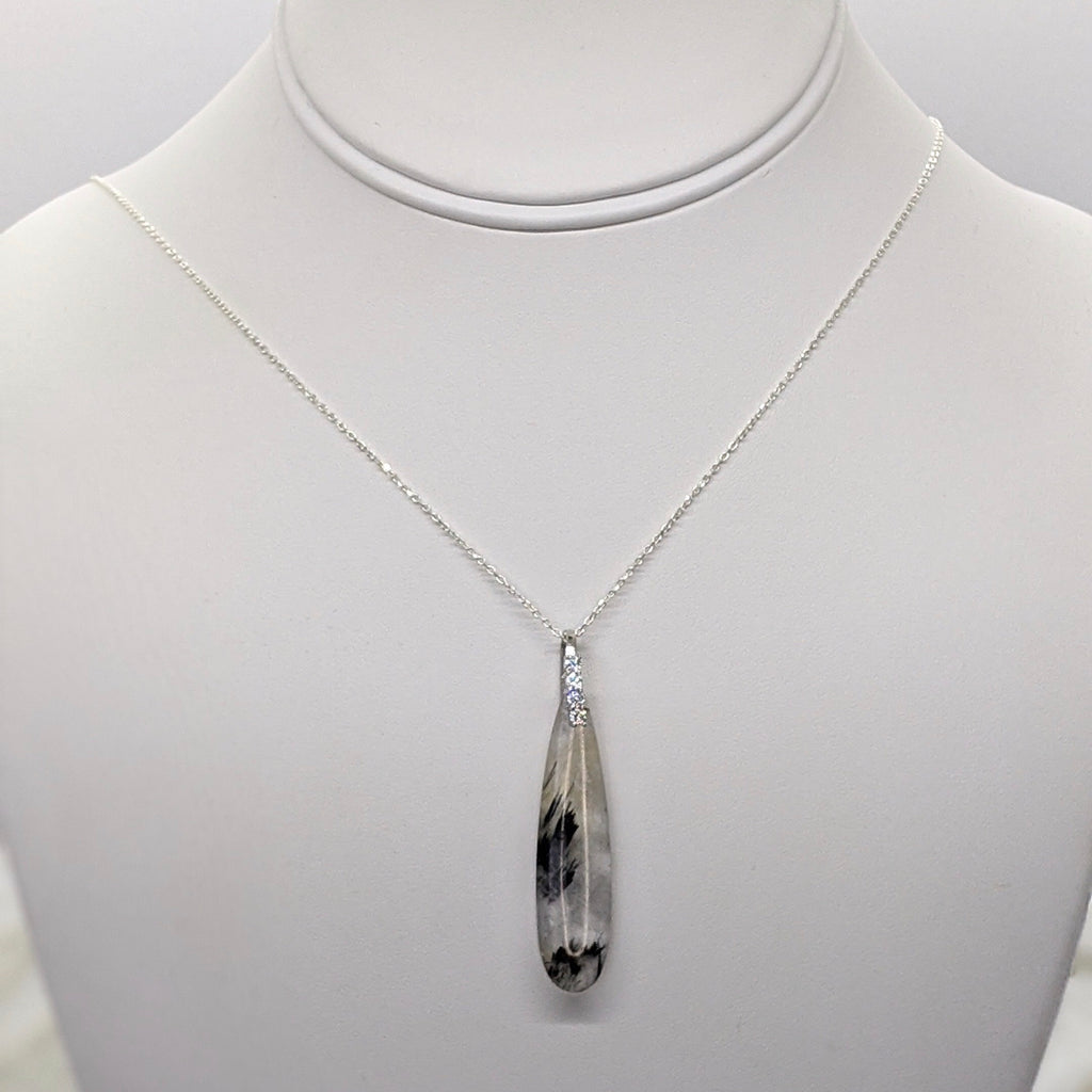 Black Rutilated Quartz Sterling Silver Necklace - Art by Autumn M.