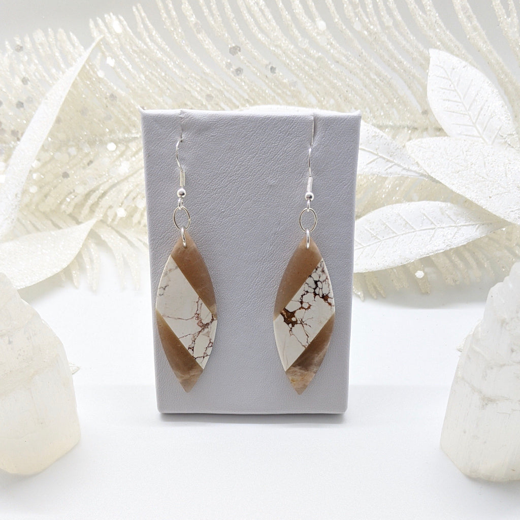 Sunstone and White Magnesite Sterling Silver Earrings - Art by Autumn M.