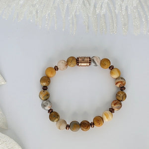 Crazy Lace Agate and Copper Laughing Stone Bracelet - Art by Autumn M.