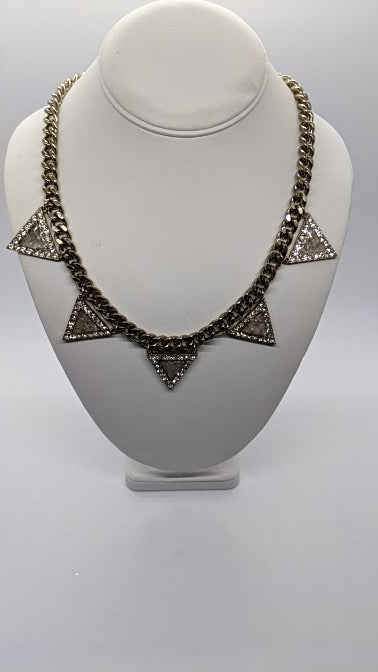Vintage Repurposed Cuban Link Necklace With Selenite Filled Pave Triangles - Art by Autumn M.