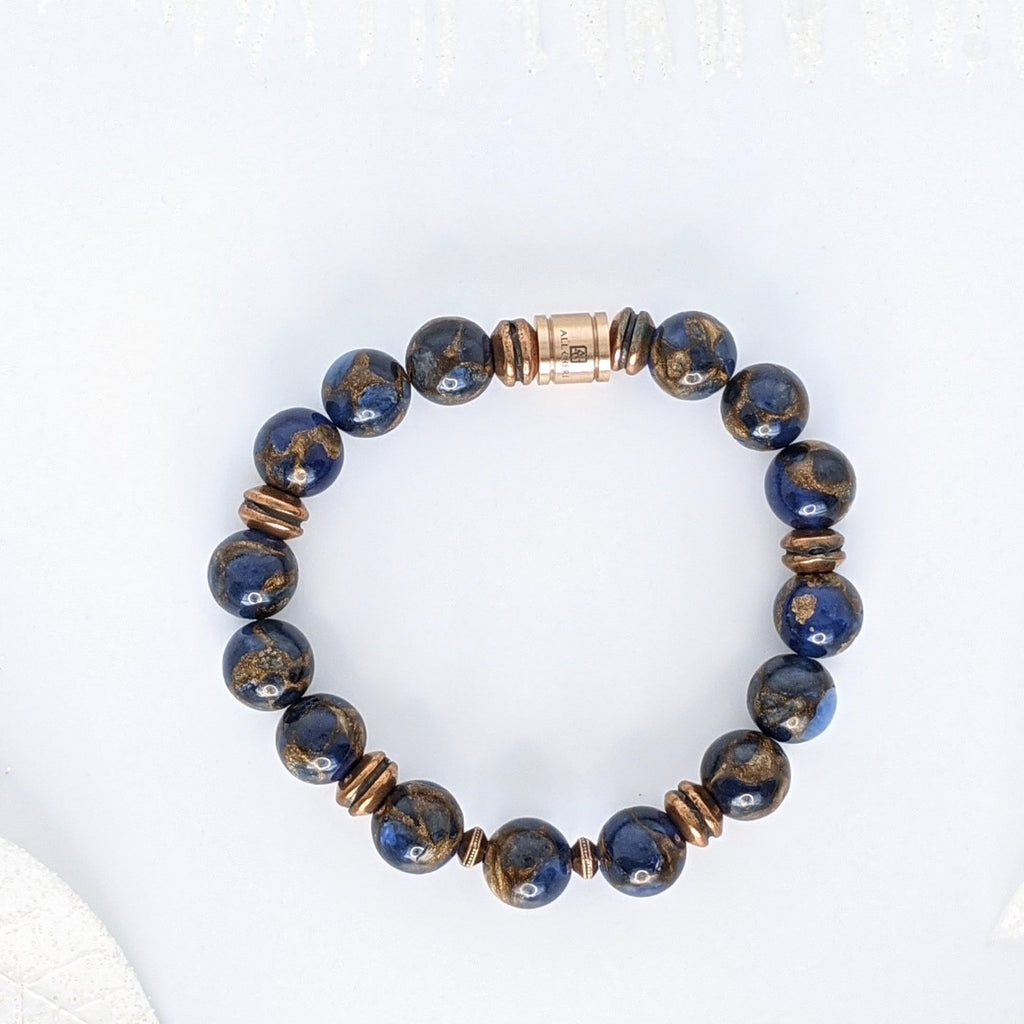 Lapis Blue Mosaic Quartz and Copper Good Will Bracelet - Art by Autumn M.Bracelet